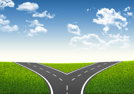 decisionmaking: Fork in the road  Decision-making framework  Blue sky and grass Stock Photo