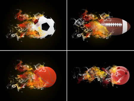 Collection sport balls in the color of flame and smoke photo