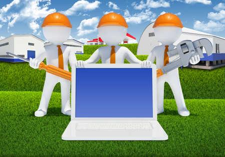 llave de sol: Tres personas de raza blanca 3d con las herramientas y los edificios industriales de portátiles como telón de fondo Foto de archivo