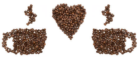 Beans are stacked in the shape of cups and heart  Isolated  photo