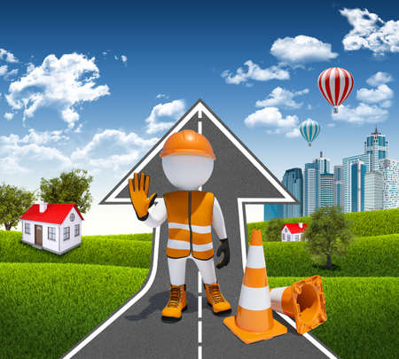 3d worker and traffic cones  Road climbs up  Small houses, skyscrapers as a backdrop photo