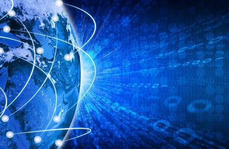熱烈な数字と地球ハイテク技術背景このイメージの要素