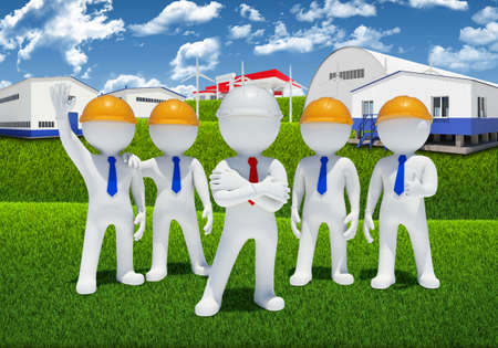 Five 3d white people  Industrial buildings as backdrop photo