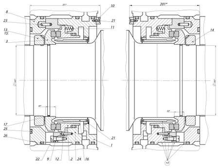 Engineering drawing of bearing on shaft  Vector format