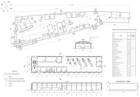 Architectural drawing of vehicle fleet  Industrial building  Vector format Illustration