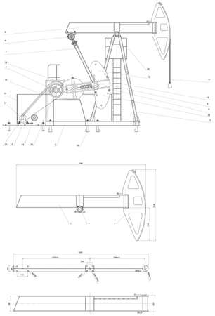 petrol pump: Engineering drawing drive submersible oil pump plunger  Vector format