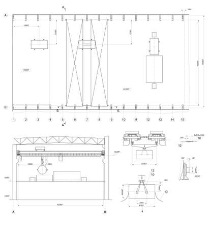 premises: Architectural drawing of industrial premises with crane  Vector format Illustration