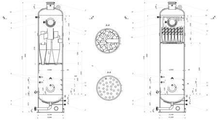 설치: 설치 사이클론 여과 공학 드로잉 벡터 형식