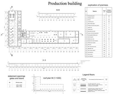 documentation: Architectural drawing of vehicle fleet  Industrial building  Vector format Illustration