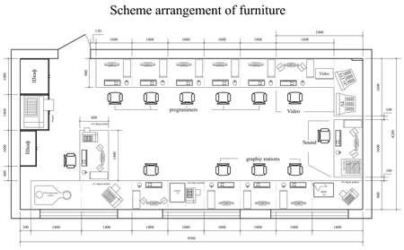 расположение схема мебели