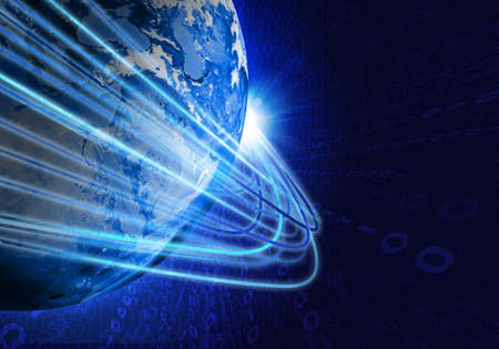 Glowing lines and Earth  Hi-tech technological background   photo