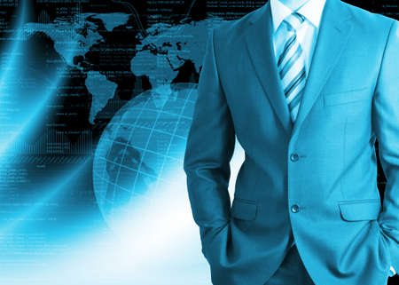 Businessman in a suit with background of Earth and graphics  Business concept