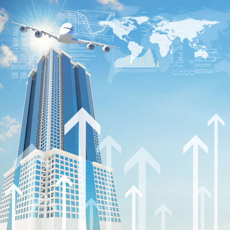 Airplane with the background of skyscraper and arrows  Concept growth in business Stock Photo
