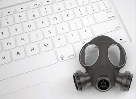 Gas mask on the keyboard  View from above photo