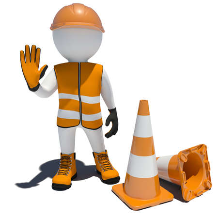 3d worker and traffic cones  Isolated on white background photo