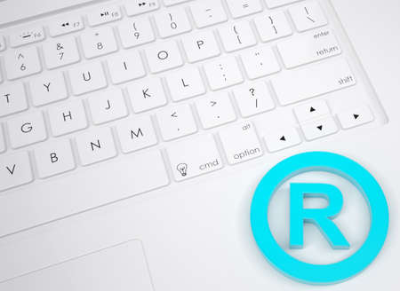 patent key: Trademark symbol on the keyboard  View from above Stock Photo