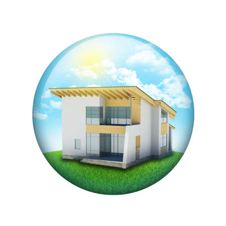 Blue sky, green grass and house  Spherical glossy button  Web element photo