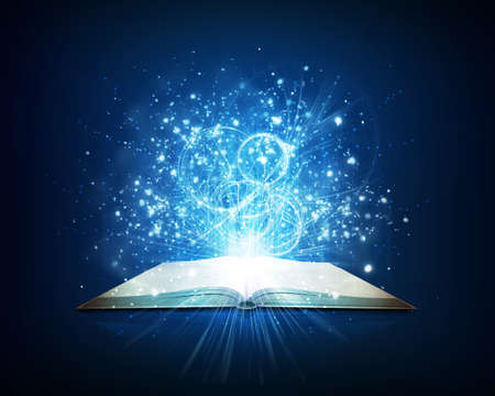 Old open book with magic light and falling stars  Dark background