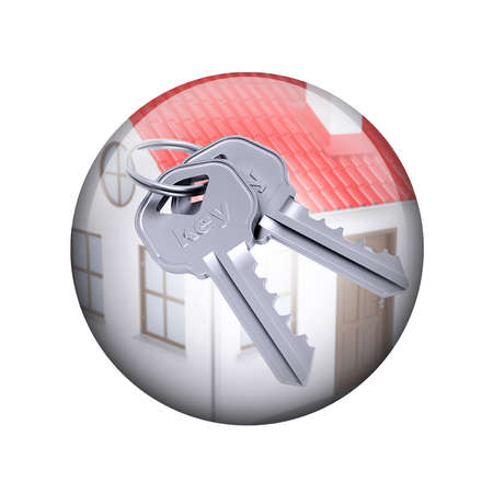 Two metal keys with house  Spherical glossy button  Web element photo