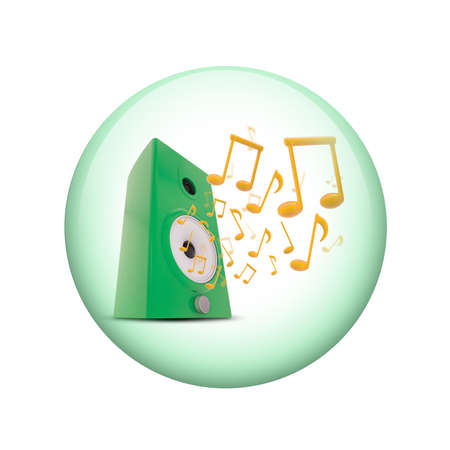 Music notes around audio speakers  Spherical glossy button  Web element photo