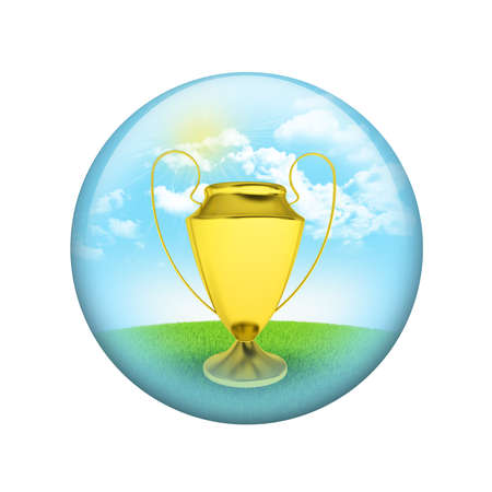 Gold cup with nature background  Spherical glossy button  Web element photo
