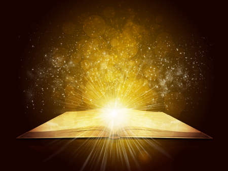 stories: Old open book with magic light and falling stars  Dark background