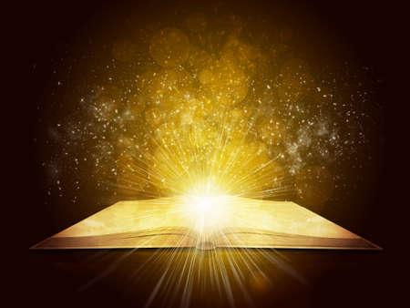 Viejo libro abierto con la luz mágica y la caída de las estrellas de fondo oscuro Foto de archivo - 29761582