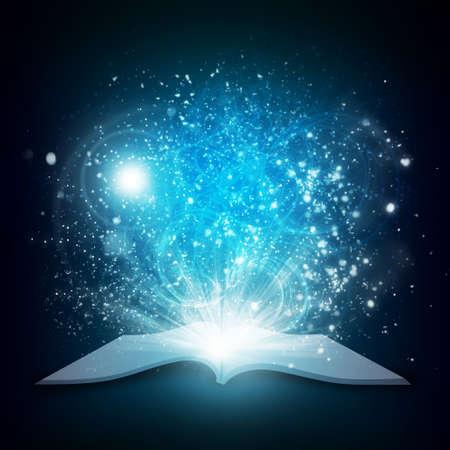 Met magische licht en vallende sterren Donkere achtergrond oude open boek Stockfoto