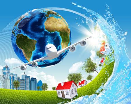 buildings on water: Tierra, hierba verde, edificios, agua y avi�n