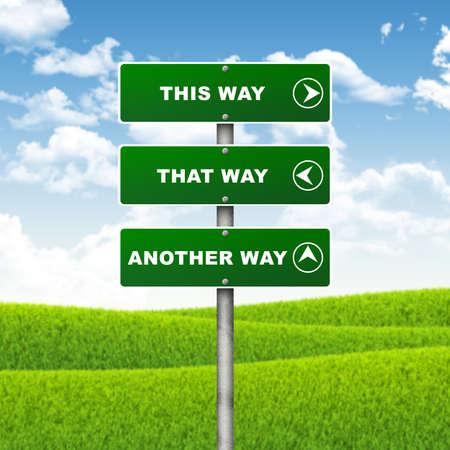 Kreuzung Road Sign Zeiger zeigt die Richtung der drei Möglichkeiten Choice-Konzept