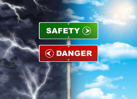 Crossroads road sign  Right color sky - SAFETY, DANGER left thunder  Choice concept photo