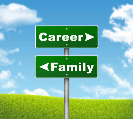 Crossroads road sign  Pointer to the right Career, but Family left  Choice concept photo
