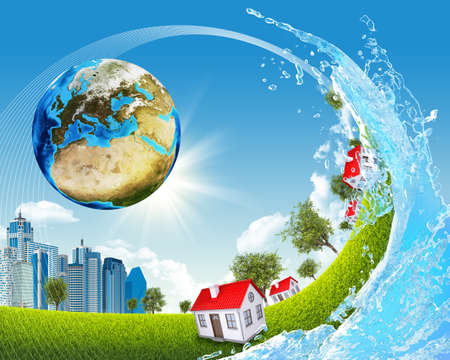 Earth, green grass, buildings and water  photo