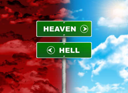 Crossroads road sign  Right color sky - HEAVEN, HELL left red  Choice concept photo