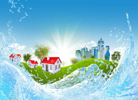 Green grass, buildings and water  Architecture background photo