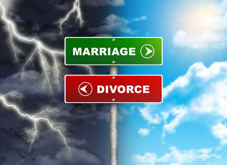 Crossroads road sign  Right color sky - MARRIAGE, DIVORCE left thunder  Choice concept photo