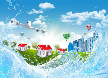 Airplane, green grass, buildings and water  Travel concept photo