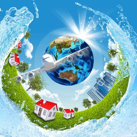 buildings on water: Tierra, hierba verde, los edificios, el agua y el avi�n