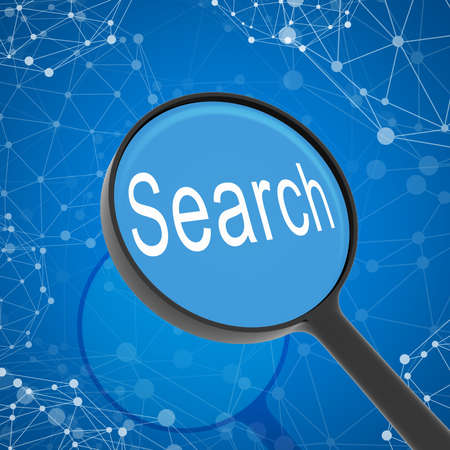 Magnifying glass looking Search  Network on background  Business concept photo