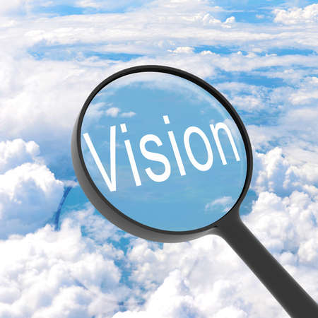 Magnifying glass looking vision  Clouds on background  Business concept photo