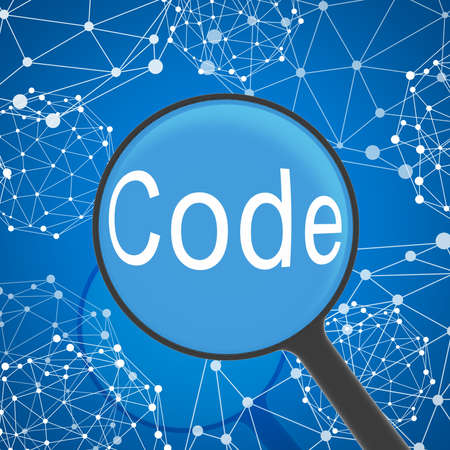 global health: Magnifying glass looking Code  Network on background  Business concept
