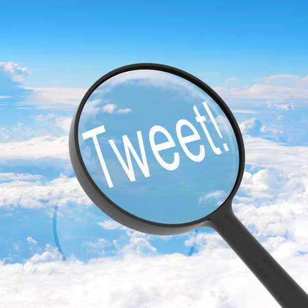 tweet: Magnifying glass looking Tweet  Clouds on background  Business concept