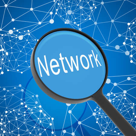 Magnifying glass looking Contact  Network on background  Business concept photo