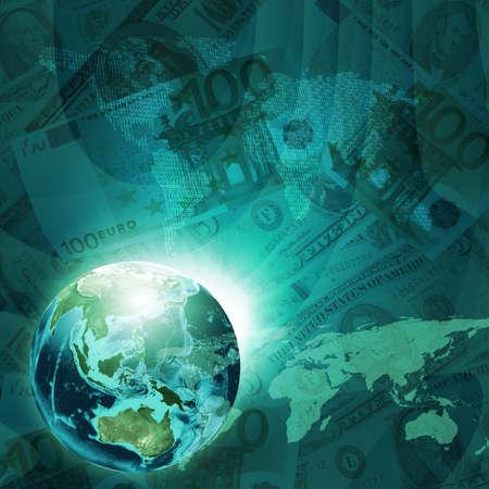 banco mundial: Tierra, mapa del mundo formado por d�gitos sobre fondo de dinero Concepto de negocio