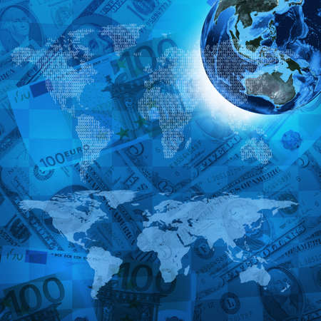money background: Earth, world map consisting digits on money background  Business concept