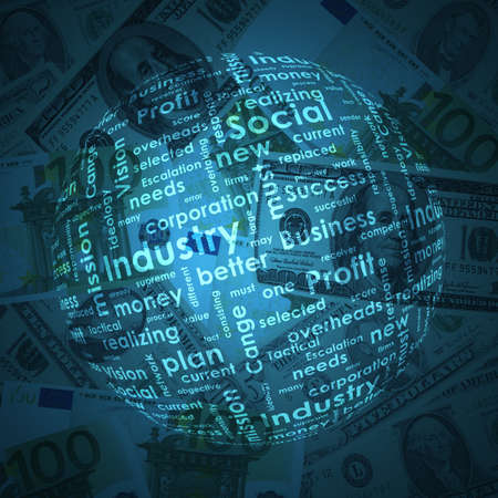 money sphere: Sphere consisting of business words on money background