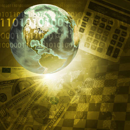 Earth, digits and keyboard on money background  Business concept  photo