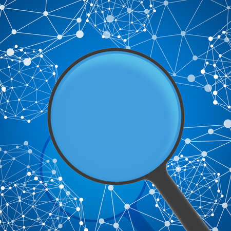 Magnifying glass examines network in background  Business concept photo