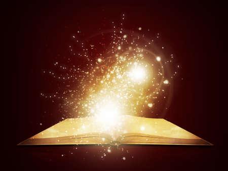 마법의 빛과 떨어지는 별 어두운 배경 오래 책