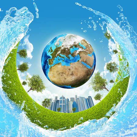Earth, green grass, skyscrapers and water  Elements of this image are furnished by NASA photo